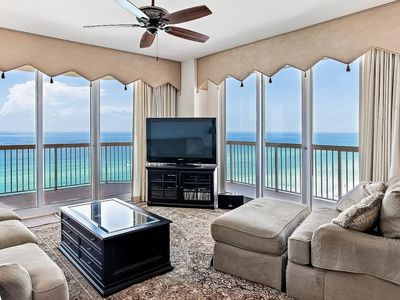 Photo for Stylish beachfront condo w/ two shared pools, a fitness center, & a game room