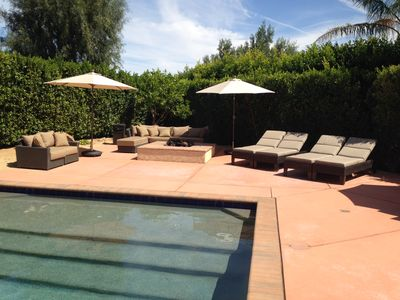 gas firepit and outdoor seating