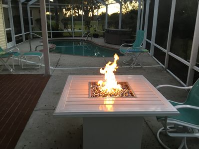 Lanai also has a gas fire pit for ambiance or chilly evenings.
