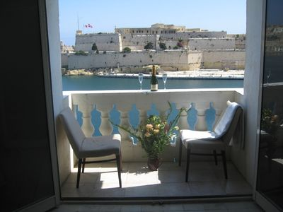 Photo for Stunning sea views of Valletta's historic Grand Harbour