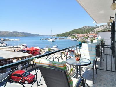 Photo for Three bedroom apartment with balcony and sea view Seget Vranjica, Trogir (A-6597-a)