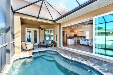 Private Pool with Western Exposure. Screened in with Seating. Pool Heat Optional Add-On