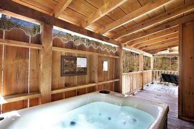 Imagine yourself here.... in the warm, soothing water of the hot tub!