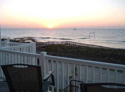 Sunrise view from top deck off living room & kitchen-less tha100 yds to ocean.