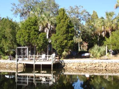 Backyard and dock on the canal