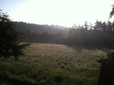 This is the view that greets you at sunrise from the barn loft apartment's deck.