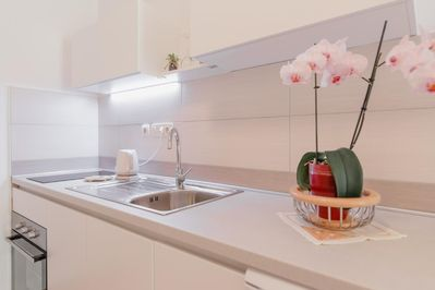 kitchen inside the apartment