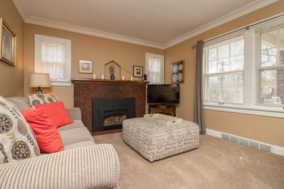 Comfortable and inviting with a gas fireplace to warm chilly evenings.