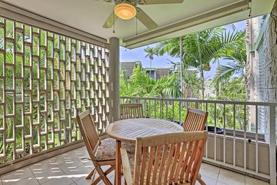You'll love sitting in the lanai with views of the lush landscape.