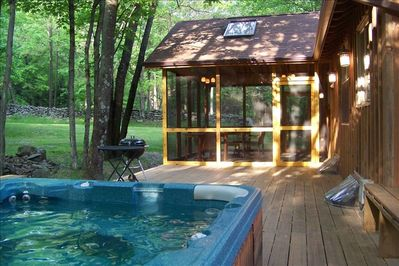 Rear Deck, Hot Tub and Screened Porch