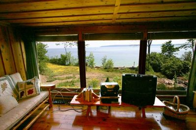 View of Lake from Cottage Living room