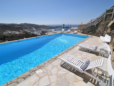 Photo for Beautiful Blue Villa 4, in Mykonos, with shared pool, sea view, 2 bedrooms, 8 sleeps