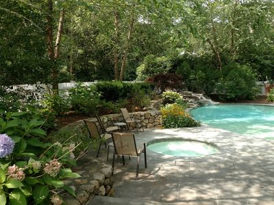 Photo for Heated Pool, Hot Tub, Views, Dock and Pet Friendly  Cape Cod rental home.