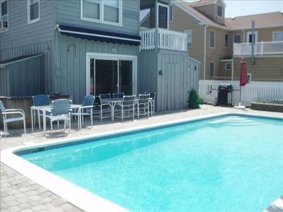 Back yard pool area, sliders lead to kitchen.  Pool is  full size, 8 ft. deep
