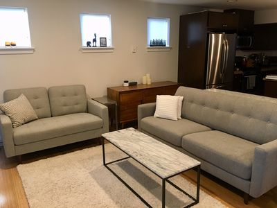 Open living area with comfortable new furniture