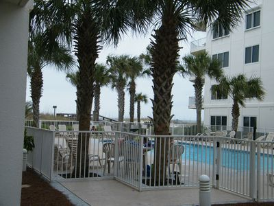 Looking from the patio to the pool.