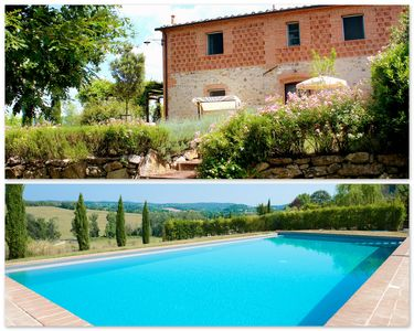 Photo for Tuscan village in SIena. farmhouse surrounded by garden,pool and panoramic view