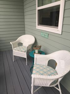 Front porch of Mermaid Cove is perfect for reading or enjoying morning coffee