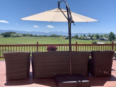 Relax on our deck and enjoy the 360 degree mountain views!