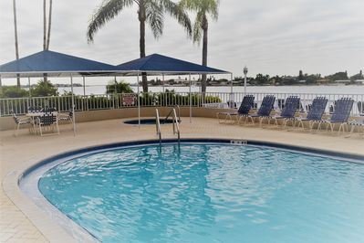 Pool is steps from the condo. Deep end as well as shallow walk in.
