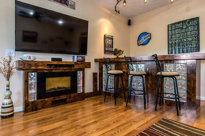 Glass block bar and glass block fireplace with lights