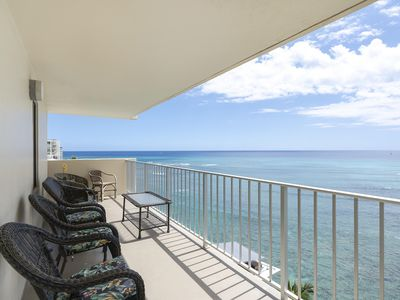 Photo for HIGH FLOOR -  Oceanfront Corner Suite, 2 Bedroom, Kitchen, Large Lanai/ Sleeps 6