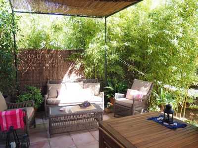 Photo for Quiet, green with a wonderful porche and garden, near beach