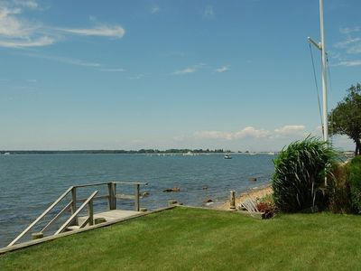 Waterfront living with private beach access and steps to Orient Yacht club.