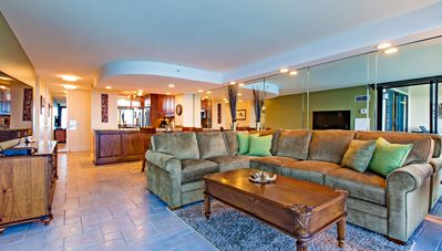 Spacious living room and sectional sofa with queen sofa bed