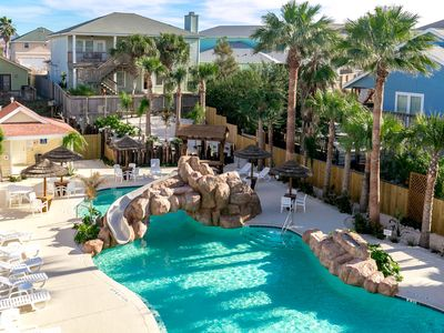 Photo for Breezy Beach House: AMAZING POOL with Slide and Palapas, Free Golf Cart
