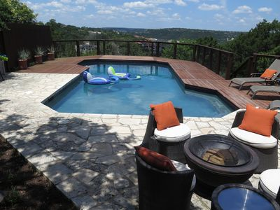 View from the covered deck off the Master Bedroom. Hill Country views, spa-like amenities, fire pit & luxurious living just 15 minutes from all the Austin hot spots.