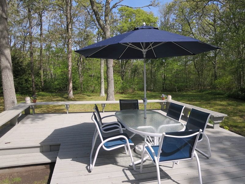 Great Deck Off Back With Outdoor Furniture And Gas Grill   4 Long Pond  Drive Harwich