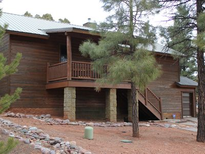 Photo for Luxury/Privacy w/pine trees, 2 covered decks, free WiFi, DISH 250 package, 4 TVs