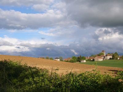 View across the fields to local villlage Soulomes