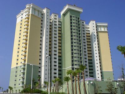 Curbside view of Beautiful Boardwalk Beach Resort Condominium