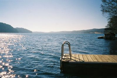 View of Lake from dock, Dock also has a large platform with 3 lounge chairs