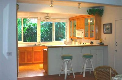 Full Kitchen with glass front cabinets, big windows, & view of Tropical Garden