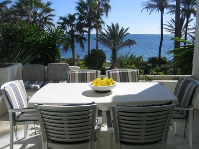 Photo for Beachfront Apartment with 7 Pools, Gardens + Wifi, Beachfront complex, 2km from Estepona town centre