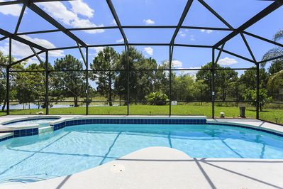 Pool backing on private pond. Lot of privacy