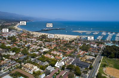 Aerial view of Cottage Location-blocks to Harbor. 4 blocks to Stearn's Wharf