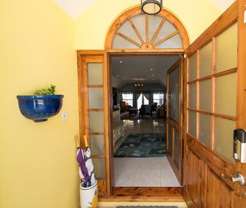 Wonderful cedar door welcomes you to your home away from home!