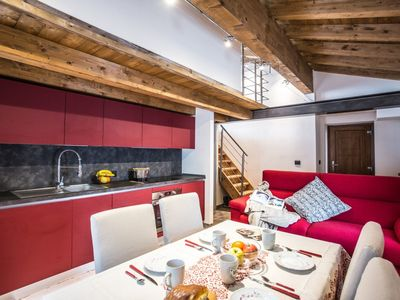 Photo for Elegant two bedroom apartment located just a few steps from the ski lifts and the center