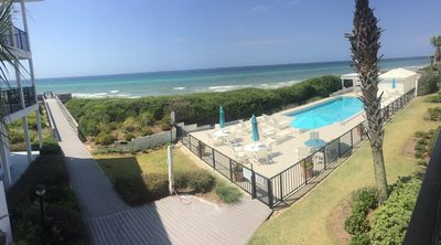 Panoramic view of gulf, dunes, pool and walkway from our balcony. The best!!!