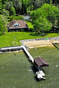 Aerial Photo Showing 150 ft Pier, Boathouse and Private Beach (1 of 2)