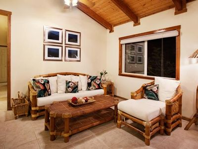 Our comfy, tropical living room invites you to relax!