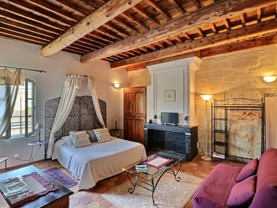 Photo for Montaren Et Saint Mediers: LIST LAVENDER studio in Farmhouse of XVIIIème with made safe heated swimming pool and Spa close to UZES