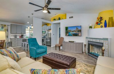 Living Room - Find your bliss at this modern 3BR desert dream home.