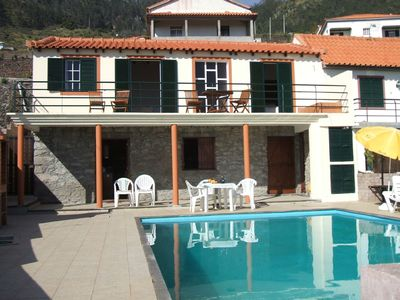 Photo for Traditional Madeira cottage, sea and mountain views plus pool, Arco da Calheta.