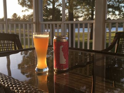 Enjoy the local beer on the deck with an amazing view.