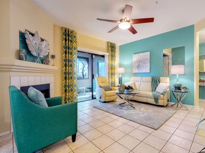 Photo for NEW LISTING! Dog-friendly getaway w/kitchen, patio, shared pool & hot tub